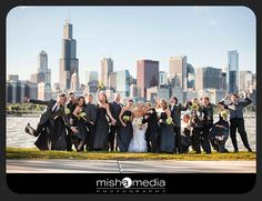 Wedding Party with Chicago background