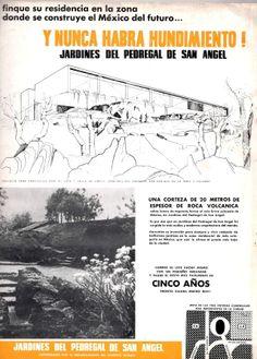 Publicidad de los Jardines del Pedregal, México DF  1956, mostrando una casa de proyecto para Lote 7, calle de Cantil Arq. Enrique de la Mora - Advertisement for the Gardens of Pedregal,  Mexico CIty 1956