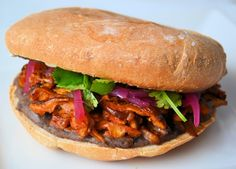 Vegan Pibil Torta sandwich. I've been wanting to make this for almost a year. It looks so good. Hopefully, pinning it will keep it in my memory.