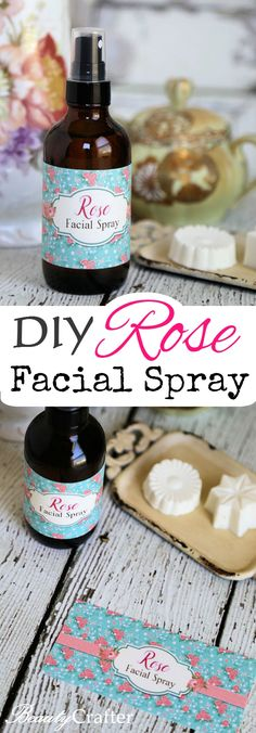 DIY Rose Facial Spray (w/ free printable labels) - Make your own moisturizing facial spray. Great on bare skin or as a way to freshen an lock in moisture after make-up. Diy Mother's Day Crafts, Mother's Day Diy, Printable Labels, Free Printable, Spray Moisturizer, Homemade Mothers Day Gifts, Face Spray, Diy Scrub, Perfume