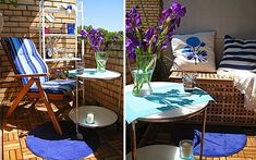 Easy Small Balcony Decorating Ideas For Modern Homes with wooden floor, flower pots and rugs.how to decorate a balcony with stylish furniture Patio Balcony Ideas, Porch And Balcony, Home Furniture, Outdoor Furniture Sets, Patio Grande, Small Balcony Design, Small Outdoor Spaces, Dining Room Inspiration, Decoration