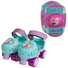 PlayWheels Disney Frozen Glitter Kids Roller Skates with Knee Pads  Junior Size 612 * BEST VALUE BUY on Amazon