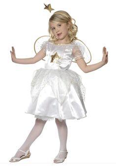 Engel jurkje voor meisjes. Compleet kostuum bestaande uit een wit met goud engelen jurkje, vleugels en een hoofdstukje.