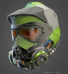 A helmet I made in my spare time using Zbrush. This will be part of something bigger at a later stage (a full body powered wing-suit character. I wanted to combine a FMX with a diving helmet. The process is very easy and fun so I might make Futuristic Helmet, Futuristic Armour, Armor Concept, Concept Art, Taktischer Helm, Badass, Armadura Cosplay, Diving Helmet, Sports Helmet