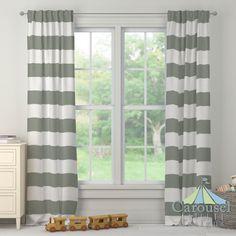 Custom drapes in Cloud Gray Horizontal Stripe.  Created using the Drape Designer by Carousel Designs