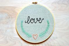 Embroidery Hoop Art / Love / Handmade / Embroidered Wall Art
