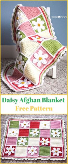 Crochet Daisy Flower Blanket Free Patterns Simple Crochet Pillow Cover Pattern - Home Ideas Crochet Daisy, Manta Crochet, Crochet Flower Patterns, Crochet Flowers, Knit Crochet, Daisy Flowers, Crochet Hexagon Blanket, Baby Afghan Crochet, Crochet Pillow