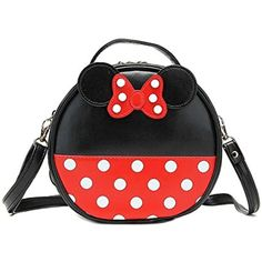 Finex® Minnie Mouse style Small Circle Polka dots Crossbody bag - Multifunction Travel Mini Handbag with Shoulder Strap (Red/Black) ** You can get additional details at the image link. (This is an affiliate link and I receive a commission for the sales)