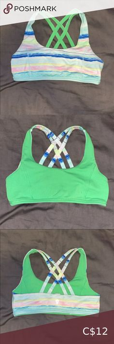 Ivivva Reversible Sports Bra Ivivva Reversible Sports Bra. Size 12. One side is green other is multicolored. In good condition Ivivva Intimates & Sleepwear Sports Bras Champion Shirt, Adidas Pants, Bikini Bottoms, Size 12, Green, Sports, Closet, Things To Sell, Style