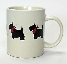 SCOTTIE DOGS with Tartan Plaid Neck Scarves Coffee Tea Mug Cup 10 Oz