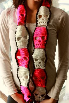 @Margaret Heggen can you learn how to do this  i need a blanket! Crochet Skulls Fashion Scarf on Etsy, $33.00