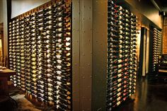 Metal Wine Rackings are perfect to showcase your wine selection menu. The floor to ceiling racking creates an illusion of a floating display to keep your wine enthusiast intrigued. Wine Refrigerator, Wine Fridge, Wine Chiller, Wine Cellars, Vintage View Wine Racks, Cooling Unit, Perfect Glass, Crystal Decanter, Wine Rack Wall