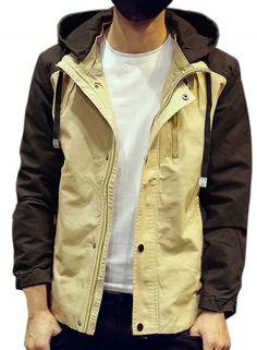 Men's Color Block Zip Front Hooded Jacket AZBRO.com