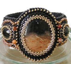 Embroidered brown bracelet beaded  - Sunset in the desert - FREE SHIPPING on Etsy, Sold