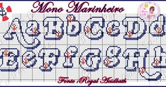 Monograma Marinheiro Cross Stitch Letters, Cross Stitch Boards, Alphabet And Numbers, Stitch Design, Stitch Patterns, Crochet, Bullet Journal, Lettering, Beads