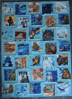 star wars quilt made from star wars sheets - could have done this with our old my little pony or other sheets!