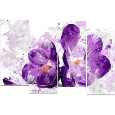 Design Art 'Blooming Purple Flower' Canvas Art Print (1.592.865 IDR) ❤ liked on Polyvore featuring home, home decor, wall art, backgrounds, art, flowers, pictures, detail, embellishment and purple