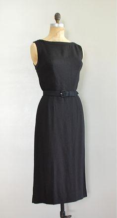 vintage 1950s CLASSIC black linen dress