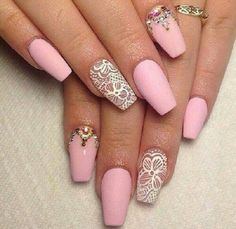 Pink and lace coffin nails