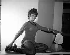 """In an amazing set of photos from the Desilu studios set of the original Star Trek, Nichelle Nichols ("""" Lieutenant Uhura"""") epitomizes grace, athleticism and poise. Description from boingboing.net. I searched for this on bing.com/images"""
