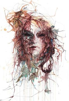 Uk-based artist and illustrator Carne Griffiths composes abstract portraits in which he blends human, geometric and floral forms. Painting Of Girl, Painting & Drawing, Watercolor Paintings, Vince Low, Vodka, Abstract Portrait, Abstract Art, Portrait Art, Portraits