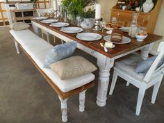 Dinning table and benches from RECLAIMED wood made in by Oldpine, $2495.00