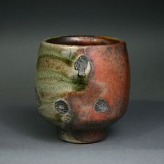 Shino Yunomi Wood Fired Stoneware Cup Side by TroyBungartStudios