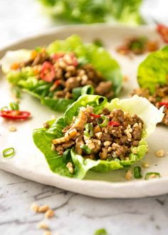 Close up of Chinese Lettuce Wraps Chinese Chicken Recipes, Easy Chinese Recipes, Asian Recipes, Japanese Recipes, French Recipes, Vietnamese Recipes, Mexican Recipes, Chinese Lettuce Wraps, Pork Lettuce Wraps