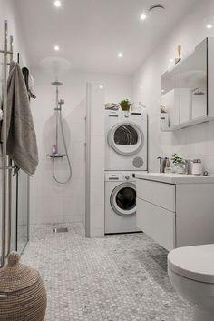 Laundry Bathroom Combo, Basement Laundry, Small Laundry Rooms, Tiny House Bathroom, Laundry Room Design, Downstairs Bathroom, Small Bathrooms, Bathroom Storage, Small Basement Bathroom