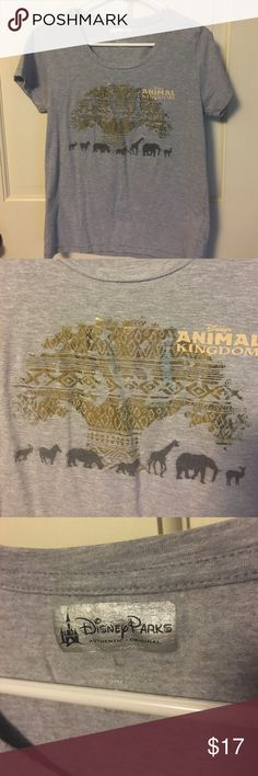 Disney's Animal Kingdom tee shirt size L Grey shirt with gold foil tree of life and animals across the front. Says size large but fits more like a medium. NWOT Tops Tees - Short Sleeve