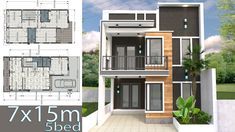 Home Design Plan Duplex House with 3 Bedrooms front, This villa is modeling by SAM-ARCHITECT With 2 stories level. It's has 3 bedrooms. 2 Storey House Design, Duplex House Design, Simple House Design, Modern House Design, Modern House Floor Plans, New House Plans, Small House Plans, Home Building Design, Home Design Plans