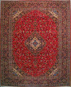 """Kashan Persian Rug, Buy Handmade Kashan Persian Rug 12' 10"""" x 16' 1"""", Authentic Persian Rug"""