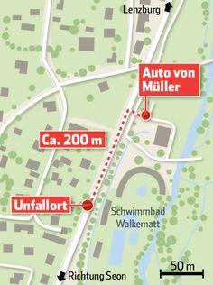 Bei der Badi Lenzburg geschah der Unfall. Map, Autos, Legends, Knowledge, Cards, Location Map, Maps