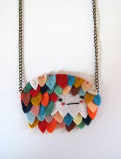 Creative felt necklace from catrabbitplush on Etsy