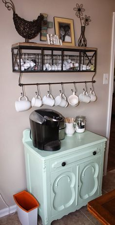 Coffee Station Love The Refurbished Cabinet Idea For Storing Cook Books