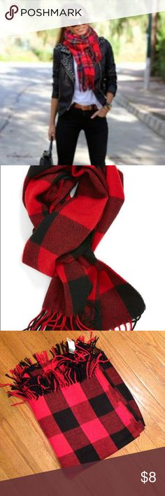 RED/BLACK CHECKED BLANKET SCARF  NWT This soft, warm and stylish red/back checked scarf will be perfect for any outfit. Rue 21 Accessories Scarves & Wraps