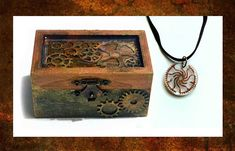 Steampunk treasure chest - jewellery box and choker necklace, steampunk jewellery, small wooden box, hand-painted, vintage art