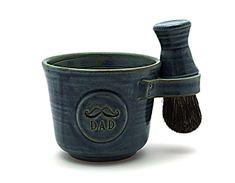 Blue Shaving Set for Dads: Ceramic Shave Kit by MiriHardyPottery  #mirihardypottery #wetshaving #shavekit #shaveset #shavingset #mustachemug #giftsfordad #giftsforguys #giftsformen