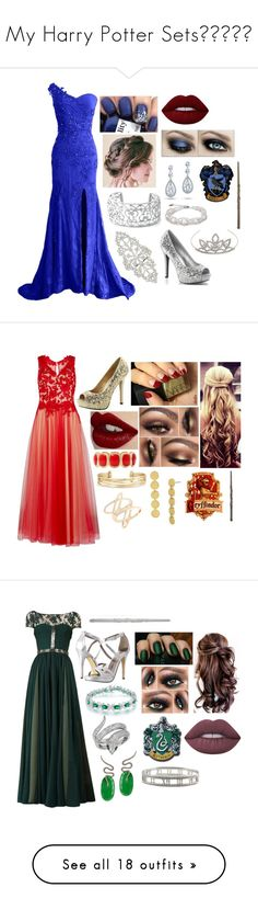 """""""My Harry Potter Sets💙💚💛❤️"""" by moon-and-starss ❤ liked on Polyvore featuring Nadri, Bling Jewelry, Lime Crime, Yves Saint Laurent, Hot Topic, Gina Bacconi, Charlotte Tilbury, Monet, BP. and Diane Von Furstenberg"""