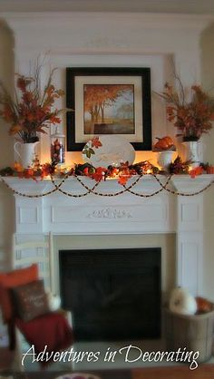 fall mantle decor Just thought I'd share a few pics of our 2012 Fall mantel. I added lots of pops of vibrant orange, along with the other traditional Fall embellishments. Fall Home Decor, Autumn Home, Autumn Mantel, Fall Mantels, Autumn 2017, Thanksgiving Decorations, Seasonal Decor, Thanksgiving Mantle, Fall Mantel Decorations