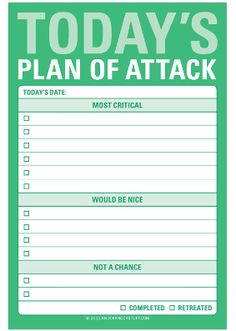 Today's Plan Of Attack - Great Big Stickies
