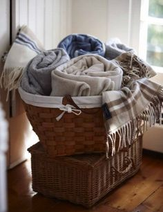 Basket Of Blankets ~ I Love My Blankets In My Basket In The Family Room! So  Cozy