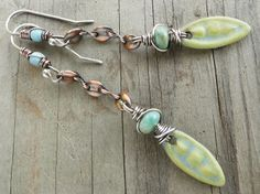 Lime Green Baby Blue Pea Pod Ceramic Charm Sea by lunedesigns, $37.00