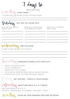 7 Days to get Motivated! Free Motivational Worksheet Printable - Stitch & Guild