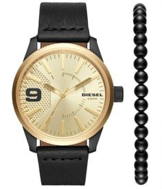 Diesel Men's Rasp Gold Leather Japanese Quartz Fashion Watch Diesel Store, Diesel Fashion, Diesel Watch, Brand Name Watches, Going For Gold, Hand Watch, Luxury Sunglasses, Black Stainless Steel, Bracelet Set