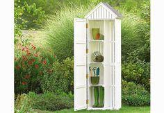 Petite armoire, l'abri de jardin TruffautArmoire Bourdillette en Accacia, certifié FSC. 60 x 48 xH.190 cm.Existe en blanc, bleu, gris ou jaune. a partir de 289 euros. Truffaut.