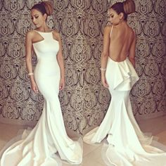 Women's Bridesmaid White Sexy Full Length Backless Off-shoulder Fishtail Mermaid Formal Evening Dresses Party Gown Wedding Long Maxi Dress