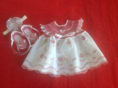 Handmade Crochet Newborn Baby Girl Dress Set - Dusty Rose, Silver & White by MiBeba on Etsy