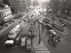 1959. Aerial view of the Leidseplein in Amsterdam. On the right the Stadsschouwburg and on the left the Heineken Hoek. #amsterdam #1959 #leidseplein
