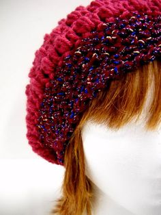 Slouchy Beanie Hat, Crocheted Slouch Hats, Burgundy with Tweed Band $30.00 from #stitchknit on Etsy
